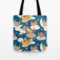 angels Tote Bags featuring Angels by Helene Michau