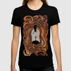 Lesbian Kiss (Art Nouveau Style)  Black X-LARGE Womens Fitted Tee