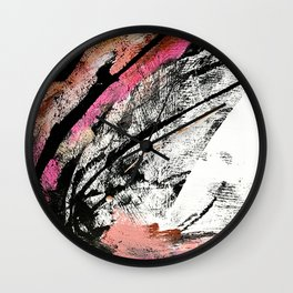 Motivation: a colorful, vibrant abstract piece in pink red, gold, black and white Wall Clock