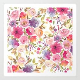 Patterened Pink Florals Art Print