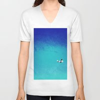 airplane V-neck T-shirts featuring Airplane by Brad Newman