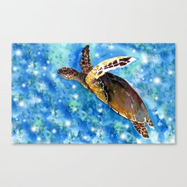 Sea Turtle Underwater Canvas Print