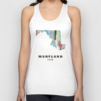 maryland Tank Tops featuring Maryland state map modern by bri.b