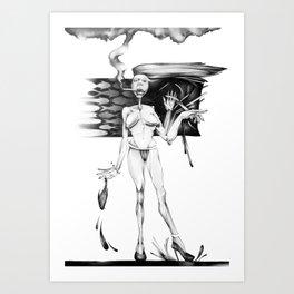 Smoking I wait. Art Print