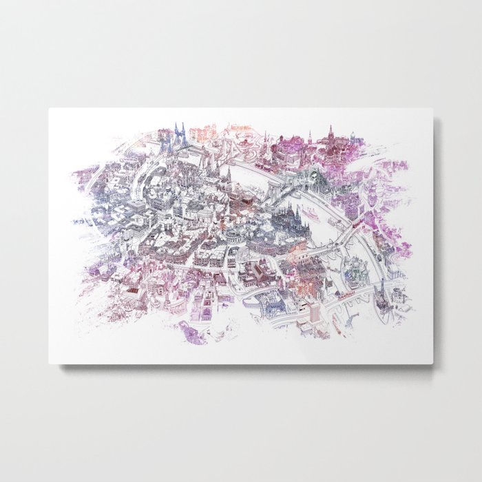 Colorful Budapest - Bird's Eye View Map Metal Print