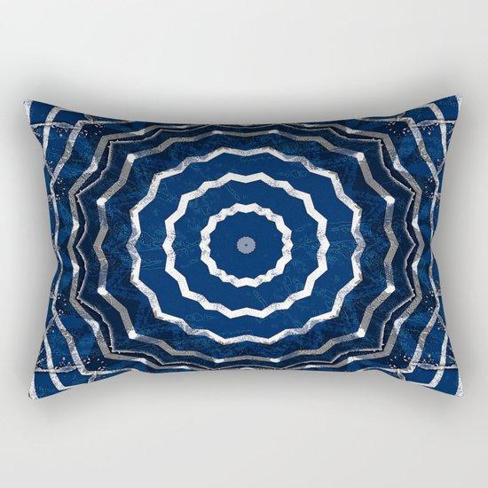 Blue stripes on white grunge textured kaleidoscope Rectangular Pillow