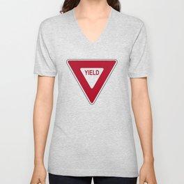 Yield road sign T-shirt Unisex V-Neck
