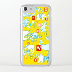 Yellow Alphabet Clear iPhone Case