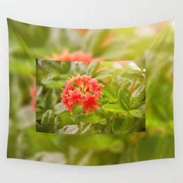 Rhododendron called Azalea red flowers Wall Tapestry