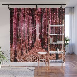 Magical Forest Vibrant Pink Living Coral Wall Mural