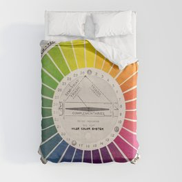 Vintage Color Wheel - Art Teaching Tool - Rainbow Mood Chart Pride Duvet Cover