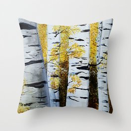 Birch Grove, acrylic painting, inspired by Belarus Throw Pillow