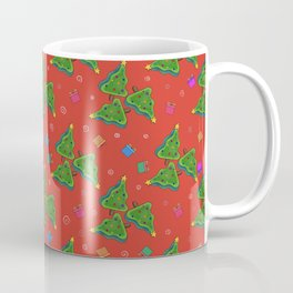Christmas tree on red background for New Year holiday decoration. stalemate Coffee Mug