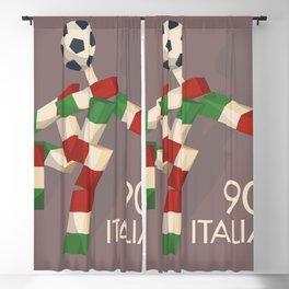 Vintage football poster, Ciao, Italia 90 mascotte, retro football, 1990 world cup Blackout Curtain