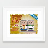 toy story Framed Art Prints featuring Toy Story Soda Cans by Oneskillwonder