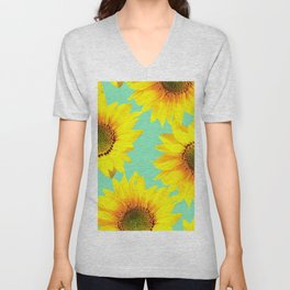 Sunflowers on a pastel green backgrond - #Society6 #buyart Unisex V-Neck