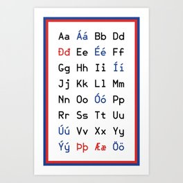 Icelandic Alphabet Art Print