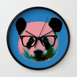 Panda with Nerd Glasses in Blue Wall Clock