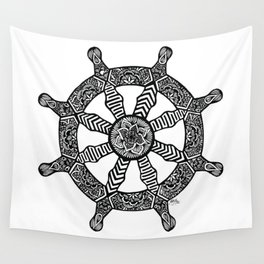 Zentangle - Dharma Wheel  Wall Tapestry