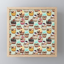Cupcake Pugs Framed Mini Art Print