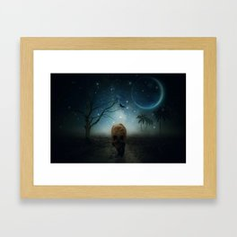 The Raven And The Wolf by GEN Z Framed Art Print