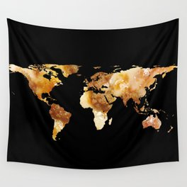 World Map Silhouette - Sausage Pizza Wall Tapestry