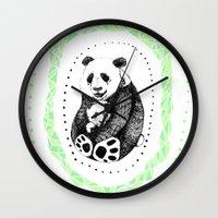 pandas Wall Clocks featuring PANDAS! by Sagara Hirsch