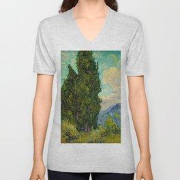 Cypresses Oil Painting Landscape Vincent van Gogh Unisex V-Neck