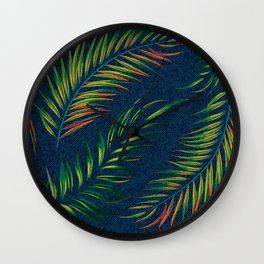 Neon Palm Fronds -  Distressed Wall Clock