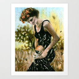 Persephone and the Bees_blue Art Print