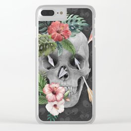 Caribbean Pirate Skull Feather Arrows Tropical Flowers Clear iPhone Case