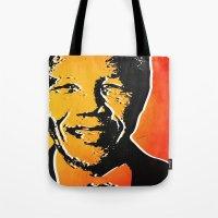 mandela Tote Bags featuring nelson mandela by mark ashkenazi