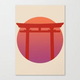 Red Japanese Torri Gate - Sunset - Zen - Japanese Minimal - Religious Gate - Calm  Canvas Print