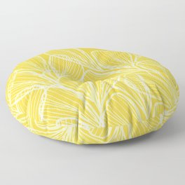 Golden Yellow Flora Floor Pillow