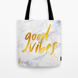 Good Vibes - Golden Lettering on Luxury Marble Tote Bag