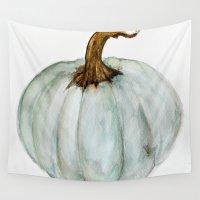 craftberrybush Wall Tapestries featuring Blue-Gray Cinderella Pumpkin - Watercolor  by craftberrybush