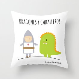 Dragones y Caballeros Throw Pillow