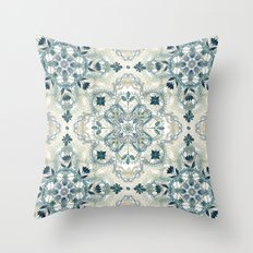 Forest Green & Neutral Taupe Detailed Lace Doodle Pattern Throw Pillow