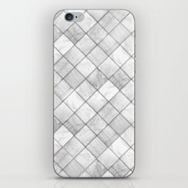 Faux Patchwork Quilting - White & Silver Pattern iPhone Skin