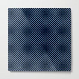 Black and Palace Blue Polka Dots Metal Print