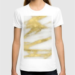 Marble - Gold Marble on White Pattern T-shirt