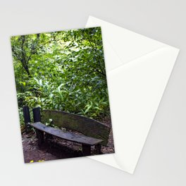 Wood Bench in the Middle of the Rainforest on the Mombacho Volcano in Nicaragua Stationery Cards