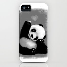 Panda Love (Monochrome) iPhone Case