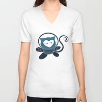 space cat V-neck T-shirts featuring Space Cat by Compassion Collective