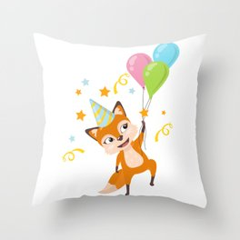 Birthday Fox Throw Pillow