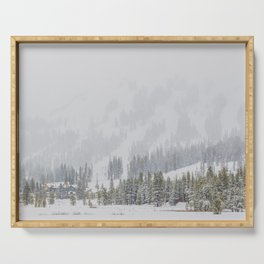 Snow Covered Forest Serving Tray