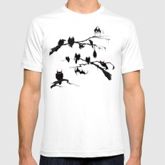 Eyes In The Dark White Mens Fitted Tee SMALL