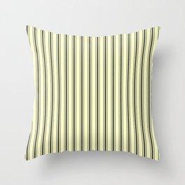 Wide Dark Black Mattress Ticking Stripes on Cream Throw Pillow