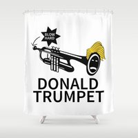 trumpet Shower Curtains featuring Donald Trump Trumpet by pollylitical