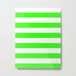 Horizontal Stripes - White and Neon Green Metal Print